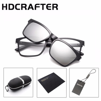 HDCRAFTER Brand Magnetic Clip Retro TR90 Sunglasses Polarized LensVintage Unisex Eyewear Accessories Sun Glasses For Men/Women - intl