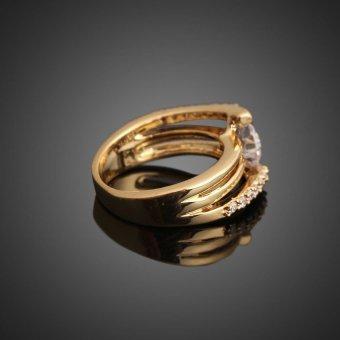 HKS Unique 3-layer Design 18K Gold Filled Zircon Crystal Wedding Ring US 6# - Intl - picture 2
