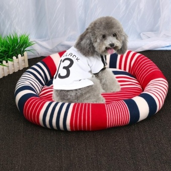 Indoor Pet Dog Puppy Soft Warm Mat Pet Comfortable Striped FlannelSleeping Bed Cushion, L Size: 65x55x13cm, Random Color Delivery -intl