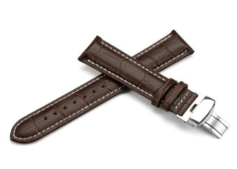 iStrap 22mm Calf Leather Strap Tan Stitched Replacement Watch BandMetal Deployant - Brown 22