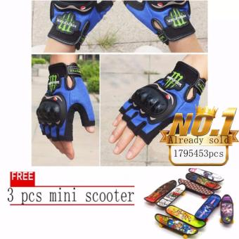 JAPAN and USA best selling free 3pcs mini scooter BLUE FingerlessMotorcycle Gloves Half Finger Guantes Motorcross Bicycle RidingRacing Cycling Sport Gears Breathable Luvas