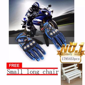 JAPAN and USA best selling free Small long chair Full Finger Motorcycle Cycling Racing Riding Protective Gloves(Black+Blue)