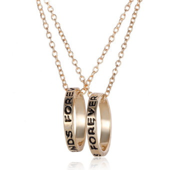Jetting Buy Chic Best Friend Forever Ring Pendant NecklaceFriendship Letters Necklace Gold