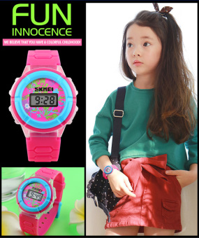 Kids Watches 1097 Trend Fashion Female Led Lights Digital ChildrenWirstwatches Best Gift For Girls And Boys(Rose Red)