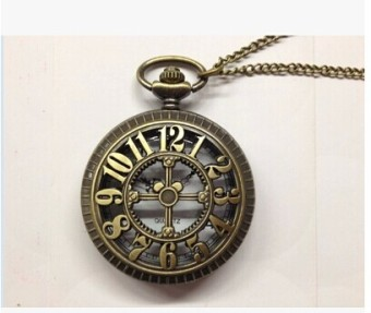Korean-style large porous with numbers pocket watch