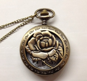 Korean-style porous large rose pocket watch