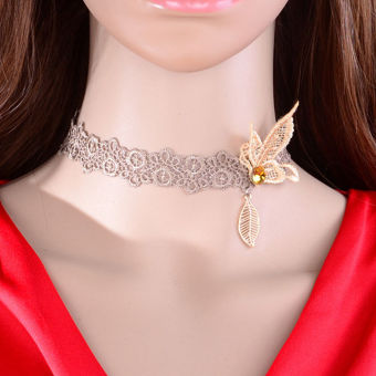 Lace Choker Necklace Vintage Retro Goth Butterfly Wedding Jewelery- intl