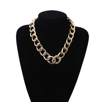 Large ring metal exaggerated thick chain choker European and American necklace