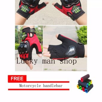 lazada and USA best selling colour RED Fingerless Motorcycle GlovesHalf Finger Guantes Motorcross Bicycle Riding Racing Cycling SportGears Breathable Luvas (Black) With Motorcycle handlebar sleeve