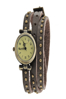 Leather Strap Roma Number Dial Quartz Woman Watch (Dark brown)
