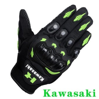 New Arrival Kawasaki Motorcycle Gloves Retro Moto Racing MotocrossFull Finger Gloves Guantes Drop Resistance Anti Slip (Size L) -intl