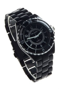 OEM Womens Imitation Ceramic Quartz Analog Sports Wrist Watch Black