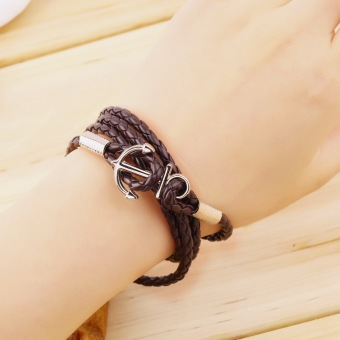 OH Women Men Multilayer Genuine Leather Handmade Cuff Wristband Anchor Bracelet