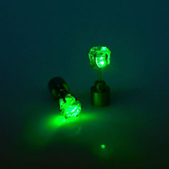 Okdeals Light Led Blinking Studs Earrings Accessories for Party Unisex Green