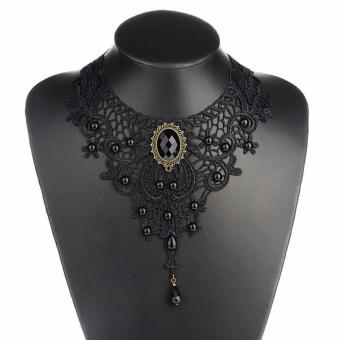 Okdeals Women Black Lace& Beads Choker Victorian SteampunkStyle Gothic Collar Necklace Nice Gift
