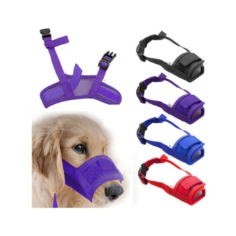 Pet Dog Adjustable Mask Bark Bite Mesh Mouth Muzzle Grooming AntiChewing Blue Size M - intl