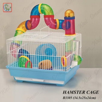 Pet Home Hamster Cage with Tubes B3305 Small Animal Cage (Purple Base)