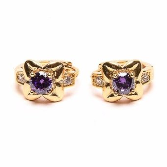 piedras jewelry Amythist and diamond like Clip earrings 18k micron plated (gold)