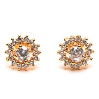 piedras jewelry diamond like stud earrings 18k micron plated (gold)