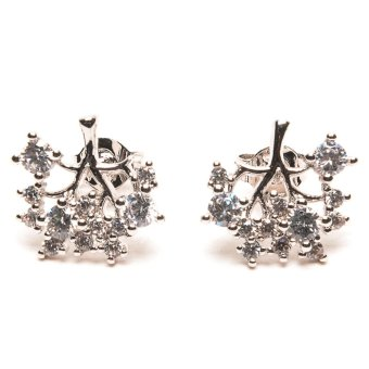 piedras jewelry diamond like stud earrings 18k micron plated (white gold)