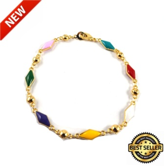 piedras jewelry enamel finish 18 k plated link bracelet (gold)