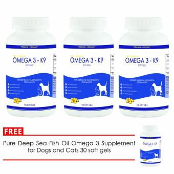 Pure Deep Sea Fish Oil Omega 3 Supplement for Dogs and Cats 100soft gels (set of 3) with Free Fish Oil 30 soft gels