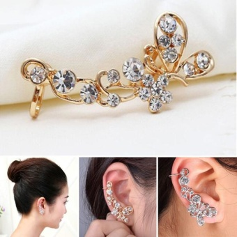 Retro Crystal Butterfly Flower Clip Ear Cuff Stud Earring Wrap GirlJewelry Gift - intl