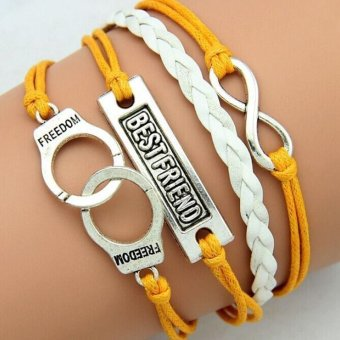 Retro Infinity Best Friend Word Leather Charm Bracelet Bronze GiftCute Yellow White