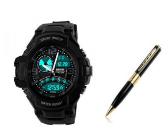 SKMEI 1017 Men's Military Dual time Date Calendar LED Sports Watch (Black) With Spy Pen Camera