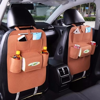 SNS Auto Car Seat Back Bag Organizer Holder Set of Two - Brown