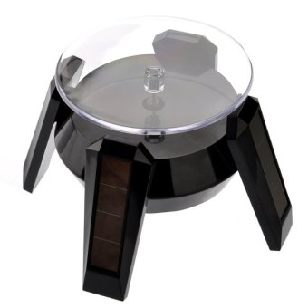 Solar/AA Battery Powered 360-degree Rotating Display StandTurntable for Cell Phone /Watch /Jewelry (Black)