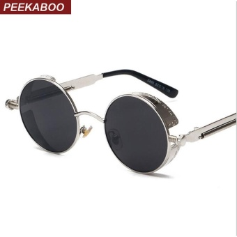 Steampunk Sunglasses High Quality Retro Women Round Peekaboo Metal Frame Black Lens Sun Glasses Male Female Sun Shade Uv400(Silver Frame+Black Lens) - intl
