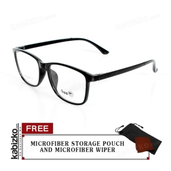 SUN Computer Eyeglasses Replaceable Lens Unisex Eyewear Glossy Black