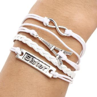 Trendy Infinity Eiffel Tower Sister Charm Fashion handmade Braided Strap Multilayer Charm Bracelet 14g