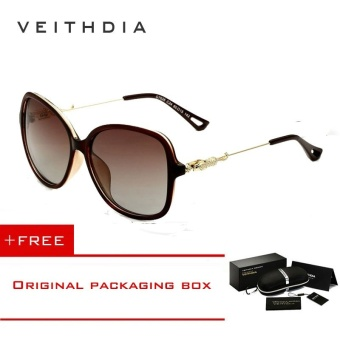 VEITHDIA Brand Retro TR90 Women's Sun glasses Polarized Ladies Designer Sunglasses Eyewear Accessories For Women Women 7026(Brown) - Intl [ free gift ]