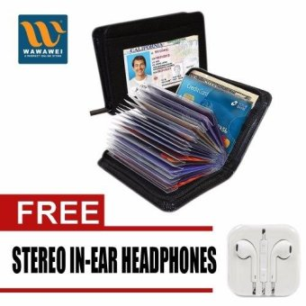 Wawawei Security Card lock Wallet with free Stereo In-Ear Headphone(White)