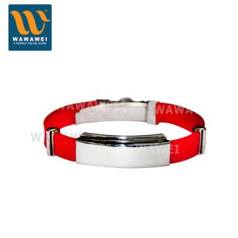 Wawawei Women Men Fashionable Couple Gift Silicone Strap StainlessSteel Bracelet (Red/Silver)