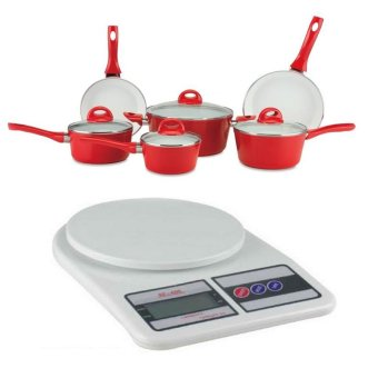 9 pc ceramic pan set red with digital 5kg 1g lcd for Kitchen set lazada