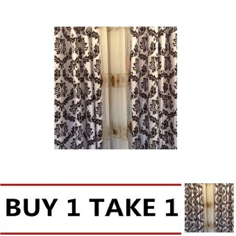 Classy Satin Curtains With Ivory Sheer Curtain Set Black