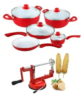 J j 9 piece ceramic pan set red with spiral potato for Kitchen set toys r us philippines