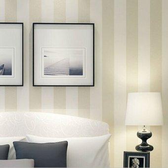 Modern simple style beige striped wallpaper livingroom for Beige living room wallpaper