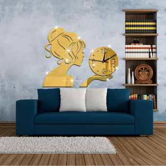 New Beautiful Girl With Crystal Ball Mirror Wall Clock