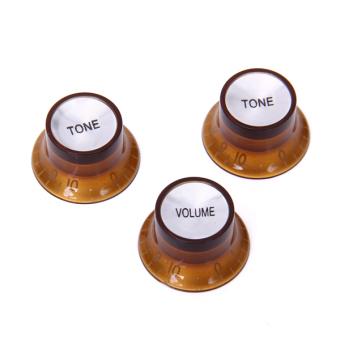 1 Set 3pcs Volume Tone Control Knob for LP SG Guitar Brown