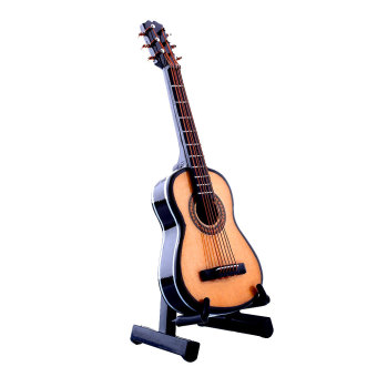1:12 Mini Acoustic Guitar Wooden Miniature Musical Dollhouse Toy With Case