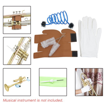 3 in 1 Trumpet Accessory Gloves Cleaning Kit Protective Cover CaseSynthetic Leather - 2