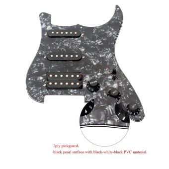 3-ply SSH Loaded Prewired Humbucker Pickguard Pickups Set for Fender Strat ST Electric Guitar Black Pearl Outdoorfree - intl