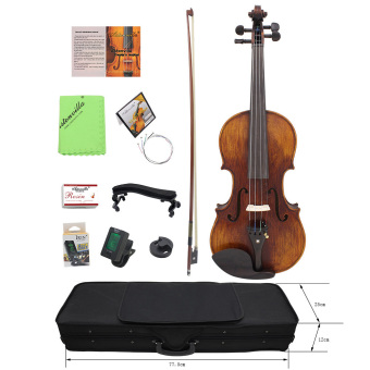4/4 Full Size Handcrafted Solid Wood Acoustic Violin Fiddle withCarrying Case Tuner Shoulder Rest String Cleaning Cloth RosinSordine Outdoorfree - Intl