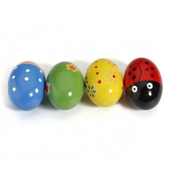 4pcs Wooden Egg Maracas Shakers Music Percussion Toy for Kids(Random Color) - 3