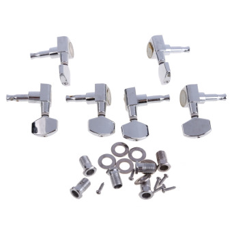 6 Chrome Guitar String Tuning Pegs Tuners Machine Heads AcousticElectric (Intl)