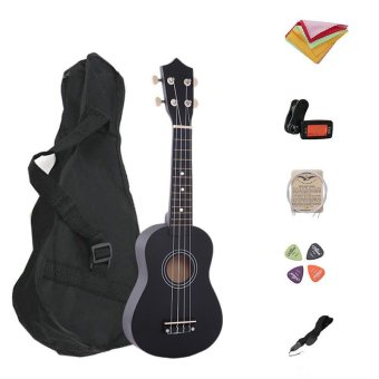 7 in 1 21 Inch Wood Concert Ukulele with Free Bag Tuner Strap Spare String Wiper Ukulele Pick - intl
